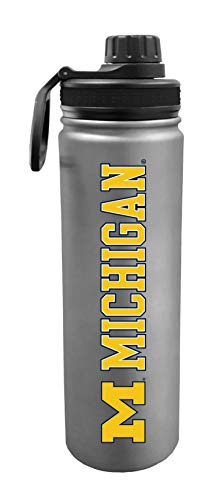 University of Michigan Wolverines 24 Ounce Stainless Steel Double Walled Beverage Bottle - College Gear for March Madness - For Office, Home & Auto - Matte Finish for Extra Grip - Limited Edition
