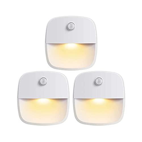 電池式LEDセンサーウォールライト3個セット 人感センサー ルームライト 足元灯 室内照明 貼り付け型 MCH-A075-WH