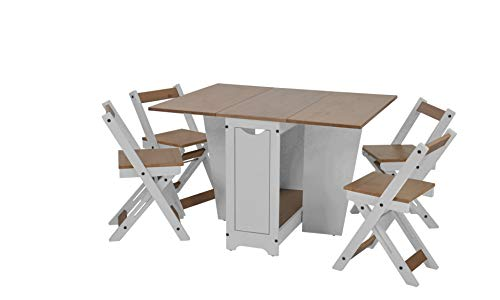Furniture 321 Santos Folding Drop Leaf Butterfly Dining Set 4 Chairs Pine & White
