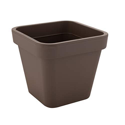 greemotion Vaso per piante in plastica angolare  Bea , vaso fiori casa giardino, fioriera resistente al gelo, ca. 51,5 l, ca. 45 x 45 cm, grigio talpa