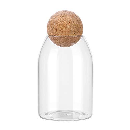 Bestonzon - Tarro de cristal de 1 unidad con tapa hermética de esfera de madera, bote de caramelos transparentes para alimentos para servir té, café, especias, azúcar sal, 800 ml