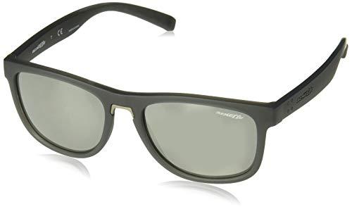 Arnette AN4252 Woke - anteojos de sol redondas para hombre, mate, Gris mate/gris espejo plateado., 56 mm