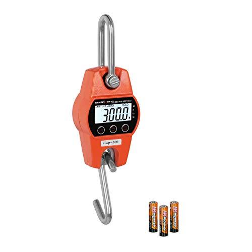 Steinberg Systems Dinamometro Digital Báscula Industrial Balanza Electronica SBS-KW-300/100-O (300 kg / 100 g, Cambio de Unidad kg/lbs/N, 3 x AA = 150h de autonomía, LCD)