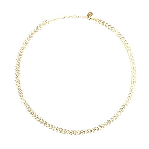La Modeuse - Collar tipo cadena con diseño de espigas de trigo,