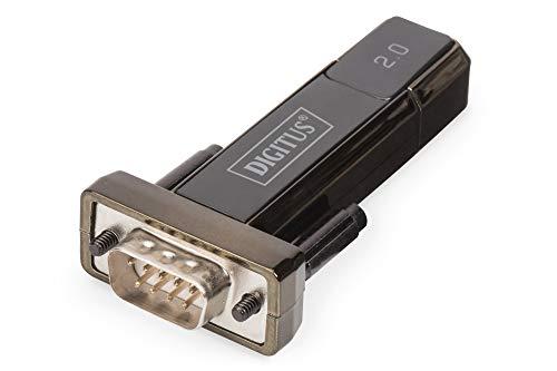 DIGITUS Adattatore da USB a seriale - Convertitore RS232 - USB 2.0 Tipo A a DSUB 9M - Chipset FTDI - Cavo di prolunga da 80 cm