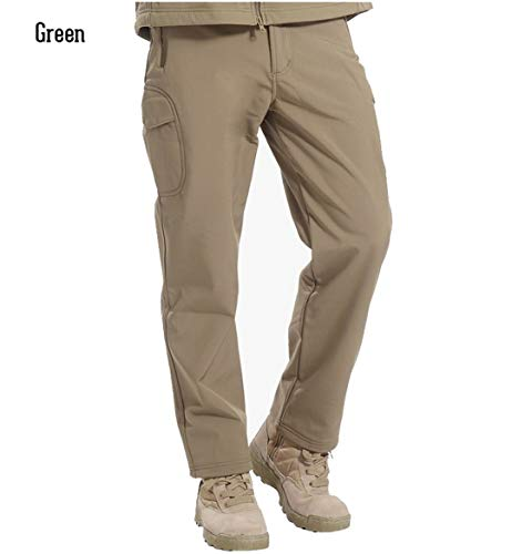 Shark Skin Soft Shell Tactical Military Camouflage Pants Men Windproof Waterproof Warm Camo Army Fleece Pants Green XL