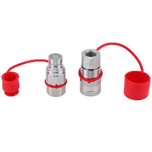 Baluue Acoplamiento rápido hidráulico para excavadora de 4 martillos, 2 unidades, color rojo y plateado