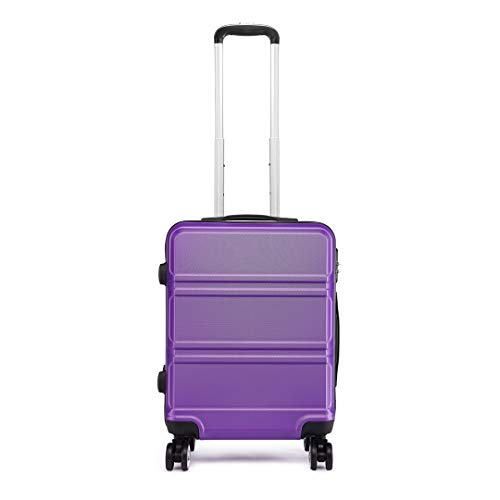 Kono 55cm Hard Shell Cabin Case 38L Carry On Hand Luggage 4 Wheeled Spinner Suitcase with TSA Lock (Purple)