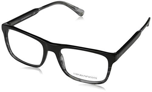 Emporio Armani 0EA3120 Monturas de gafas, Black/Tr Striped Grey, 53 para Hombre