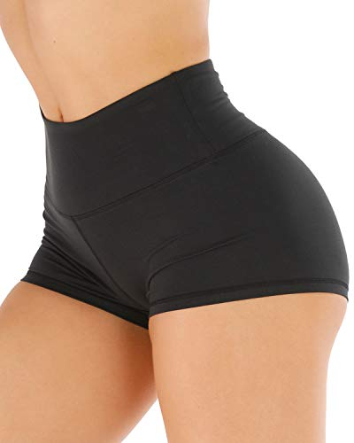 CHRLEISURE Workout Booty Spandex Shorts for Women, High Waist Soft Yoga Bike Shorts 3F Black M