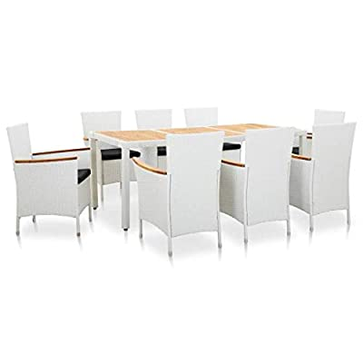 vidaXL 9 Piece Outdoor Dining Set with Cushions Patio Backyard Meal Dinner Chairs Table Poly Rattan and Solid Acacia Wood White