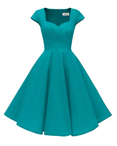 Hanpceirs Women's Cap Sleeve 1950s Retro Vintage Cocktail Swing Dresses with Pocket Turquoise 3X