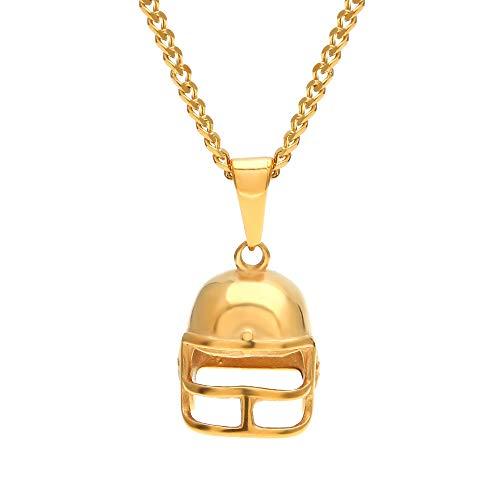GYXYZB Herren Gold Tone American Football Helm Micro Anhänger Edelstahl Sportkette Punk 3mm 24