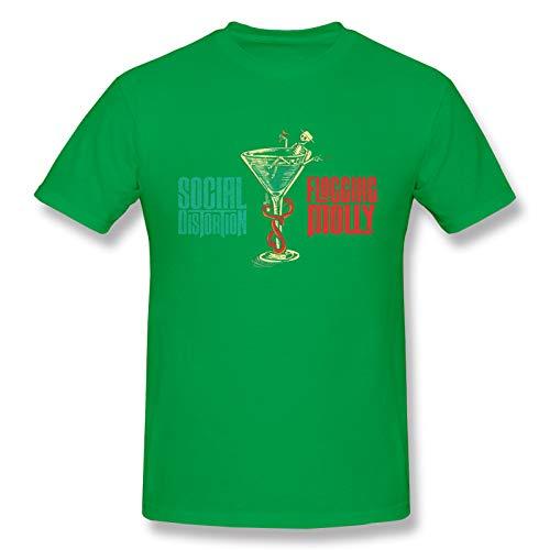 The Met Philadelphia Social Distortion & Flogging Molly Men's Basic Short Sleeve T-Shirt Fashion Printed Casual Short Sleeve Cotton Green L