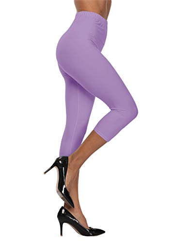 VOGUEMAX Women's Capri Leggings High Waist Soft and Comfy Cropped Leggings Tights 3/4 Length Leggings Light Purple