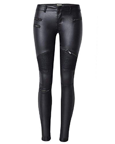 Damen Kunstlederhose Skinny Style Stretch Lederhose Mit Zipper Einfarbig Spleiß Skinny Button Jungen Lang Trousers Pants (Color : Schwarz, Size : 34(W13.39))