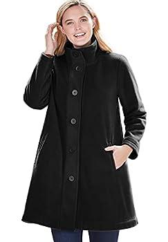 Woman Within Women s Plus Size Fleece Swing Funnel-Neck Coat - 3X Black