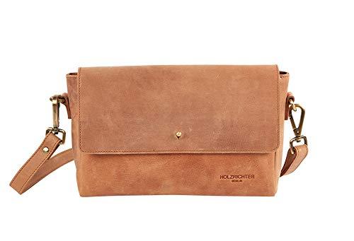 HOLZRICHTER Berlin Umhängetasche (M) - Hochwertige Handtasche & Schultertasche Für Damen Aus Echtem Leder - Camel