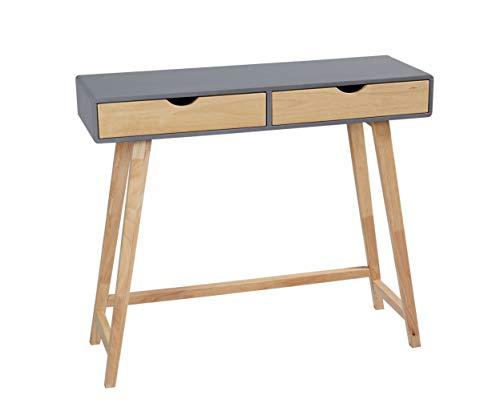 LC Home Konsolentisch Konsole mit Zwei Schubladen Holz grau Natur in skandinavischem Stil