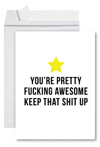 Andaz Press Funny Jumbo Thank You Card With Envelope 8.5 x 11 inch, Funny Greeting Card, Pretty Fucking Awesome, 1-Pack, Huge Large Group Greeting Card, Includes Envelope