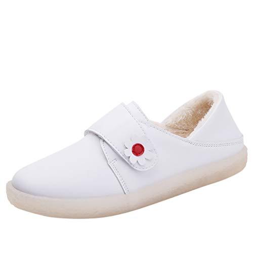 BRISEZZ Wohnungen Schuhe Plus Kaschmir Krankenschwester Schuhe Wilden Harajuku Velcro Kleine Weiße Schuhe Frauen Weiße Krankenhaus Arbeitsschuhe Täglich Tragen Slip-Ons Flach Schuhe Weicher (B, 36)