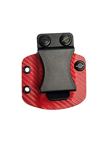 BORAII Inc Universal Magazine Carrier (KYDEX IWB Holster) - RED Carbon Fiber + Black (Right, 9MM/40CAL Double Stack)