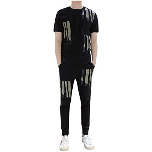 DAY8 Uomo Sport Abbigliamento Tute da Ginnastica Uomo Sportive Complete Tuta Estiva Uomo 2 Pezzi Completa Elegante Taglie Forti Manica Corta T-Shirt Pantaloni (Nero, L)