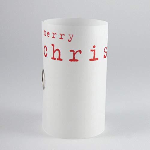 merry christmas - halbtransparente Weihnachtskarte mit roten Umschlägen. Der Empfänger kann die Karte dann rollen und als stimmungsvolle Hülle für ein Teelicht verwenden. Design: Michael Marschall