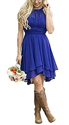 Meledy Women's Knee Length Country Bridesmaid Dresses Western Wedding Guest Dresses Short Maid of Honor Gown Royal Blue US18