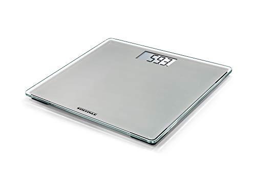 Soehnle Báscula de baño Style Sense Compact 200 Stone Grey, peso digital con pantalla LCD, balanza electrónica con apagado y encendido automáticos