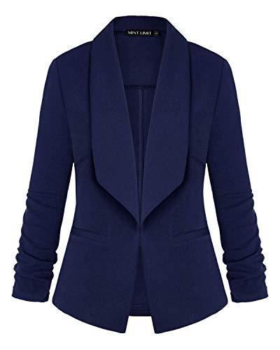 Womens Blazer Long Sleeve Open Front Blazer Office Lapel Cardigan OL Jacket (Black, XX-Large)