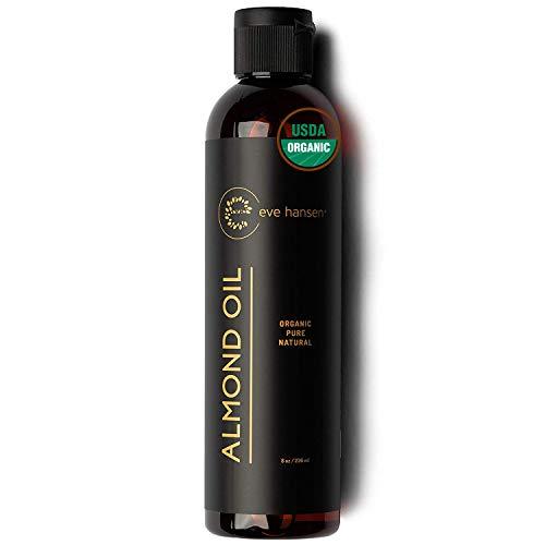 Eve Hansen Organic Sweet Almond Oil For Skin | (8 Oz) Hair Growth Oil, Body Oil For Dry Skin, Carrier Oil For Essential Oils | Massage Oil, Organic Face Moisturizer For Skin, Hair Oil And Nail Oil