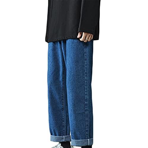 Pantalones de Mezclilla para Hombres para otoño Pantalón Recto Suelto Recortado Pantalones amigables con la Piel Vaqueros de Pierna Ancha Que no se desvanecen fácilmente