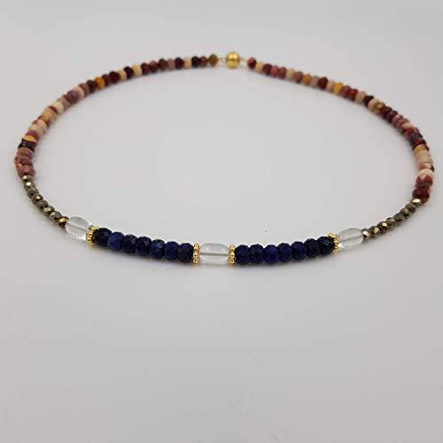 charakterperle Design Edelsteinkette inspiriert von Wassily Kandinsky'Paradies' - braun Morganit blau Sodalith Bergkristall - Einzelstück Unikat handgemacht