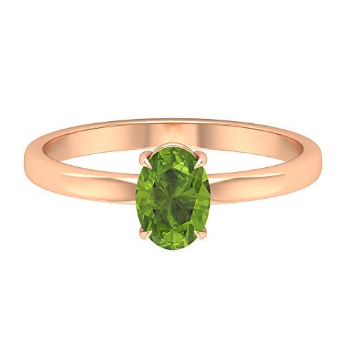 Rosec Jewels - Anillo solitario de peridoto creado en laboratorio de 1 quilate, anillo de compromiso de oro simple (calidad AAAA), oro de 10 quilates verde