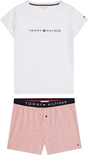 Tommy Hilfiger Damen SS Short Set Jersey, Weiß/Ag/Mini/Logo/AOP, S/M