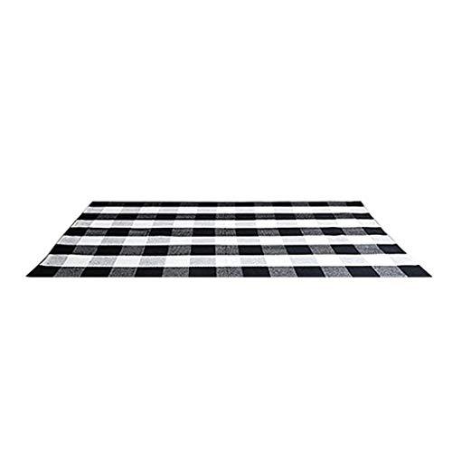 Teppich Plaid Check Teppich 27.6''x43.3'' Baumwolle Handgewebte Teppiche für den Innen- und Außenbereich Teppiche Home Area Wohnzimmer