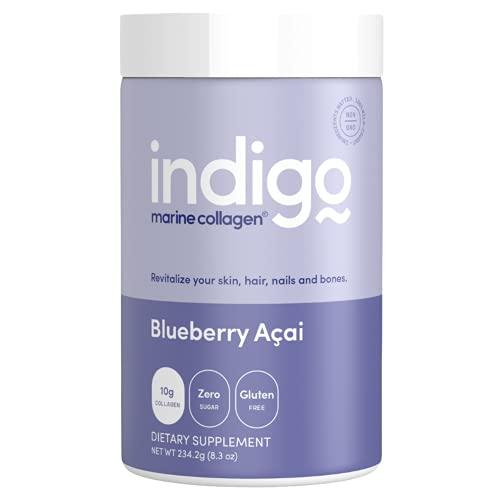 Indigo Marine Collagen Powder   Wild Caught Fish Collagen   Hydrolyzed Multi-Collagen Peptides  Amino Acids for Hair, Skin, Nails   Kosher   8.3 Oz, Blueberry Acai