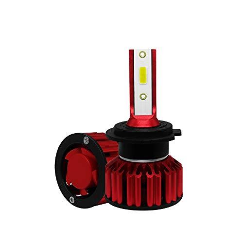 JCMYSH DIRIGIÓ Bombillas de Faros H7 LED Faro de Coche 6000K 50W 6000LM LED Chip Kit de conversión Integrado IP68 a Prueba de Agua Super Brillante Enfriamiento rápido para Faros de Coche