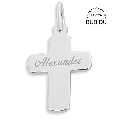 Kreuz Anhänger mit Gravur Silberkreuz