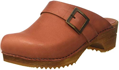 Sanita Urban offener Clog   Original handgemacht   Leder-Holzclogs für Damen   Orange   37 EU