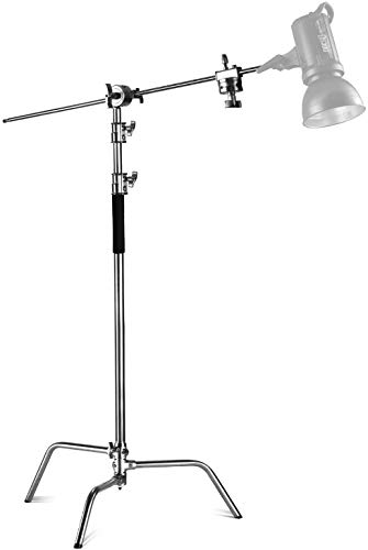 Neewer Pro 100% Stainless Steel Heavy Duty C Stand with Boom Arm - Max Height 11ft/331cm Photography...