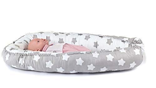 Kuschelnest für Babys und Säuglinge, Nestchen, Reisebett, 100% Baumwolle, antiallergisch, Grau/Sterne