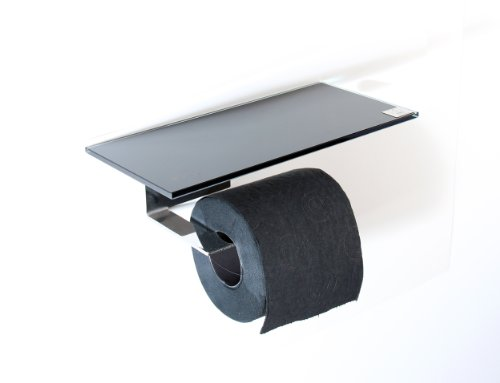 WC Rollenhalter/Toilettenpapierhalter mit Abstellfläche/Ablage aus schwarzem Glas/L - Made in Germany -