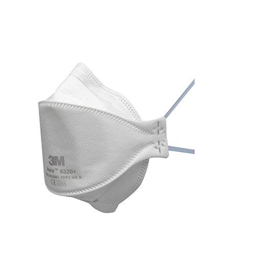 3M Aura Atemschutzmaske 9320+SV – Komfortable Partikelschutzmaske mit optimaler Gesichtsanpassung – Einwegmaske mit Schutzstufe FFP2 – 5 Stück