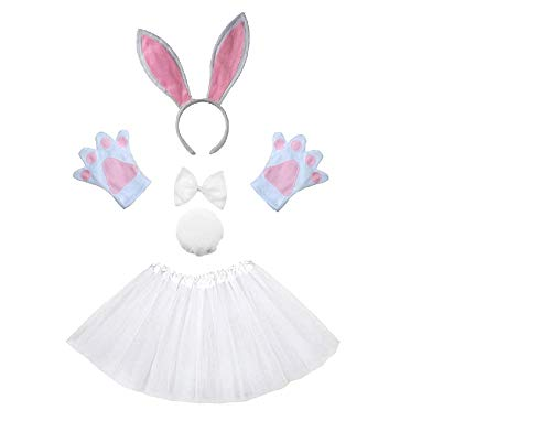 Disfraz de conejito conejo blanco - niña - tutú - diadema - guantes - pajarita - cola - disfraces para niños - halloween - carnaval - blanco - idea de regalo original papillon cosplay