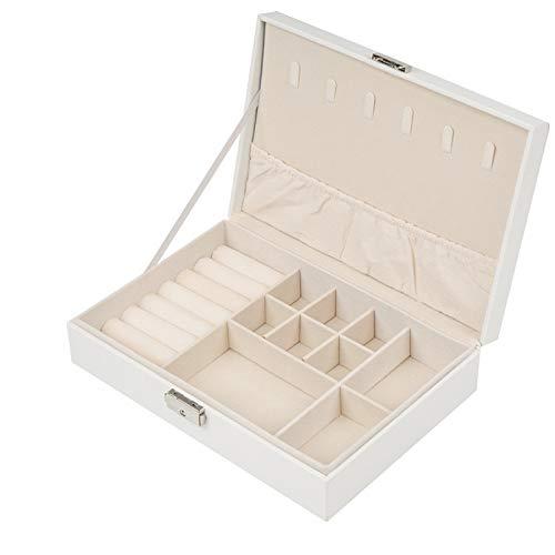 Caja de joyería para mujer, con cerradura y bandeja extraíble, para almacenamiento y exhibición de collares, pendientes, anillos, pulseras, etc. (blanco).