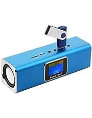 Musicman MA Soundstation głośnik stereo z wbudowaną baterią i wyświetlaczem LCD (odtwarzacz MP3, radio, gniazdo kart microSD, gniazdo USB), niebieski