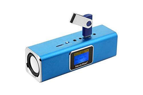 Musicman MA Soundstation Stereo-Lautsprecher mit integriertem Akku und LCD Display (MP3 Player, Radio, MicroSD Kartenslot,USB Steckplatz) blau