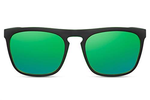 Cheapass Gafas de Sol Estilo Deportivo para Hombre Real Montura Negra Mate con Efecto Verde y Cristales Verdes Espejados Protección UV400